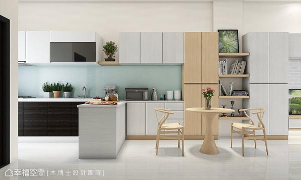 接续客厅电视柜体规划的展示收纳柜,向后衔接备餐柜与厨具,更透过人造石台面的转折延伸,串联场域互动性。 (此为3D合成示意图)