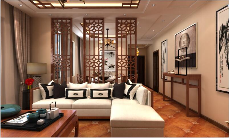 客厅图片来自佳园装饰在保利春天大道中式风格装修案例的分享