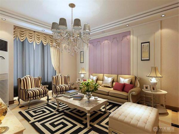 客厅是主人品味的象征,体现了主人品格,地位,两边使用简单的装饰画,再加上淡暖色的壁纸,配上顶部下来的灯光,把整个客厅都提升了起来。