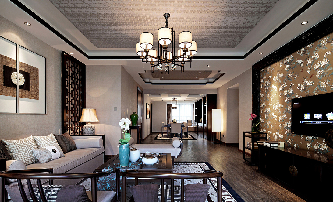 客厅图片来自贵阳大地装饰在148m²中式风格(金阳新世界)的分享