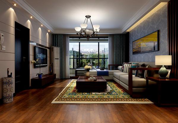 客厅整体装修设计效果图,客厅吊顶、地面、窗帘、沙发布置