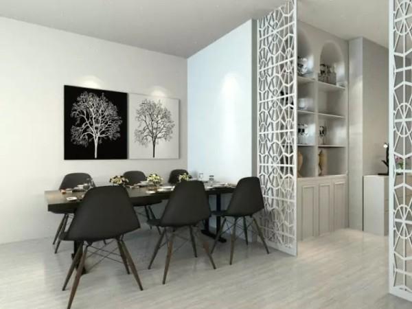进门门厅跟餐厅结构有层次,门厅摆放通顶的装饰柜,方便于业主摆设和普通收纳。整个客餐厅的颜色偏浅色,餐桌的选择上选深色的餐桌,让整体色彩的搭配不是那么的清淡。墙上黑白对比的装饰画也是别有一番意趣。