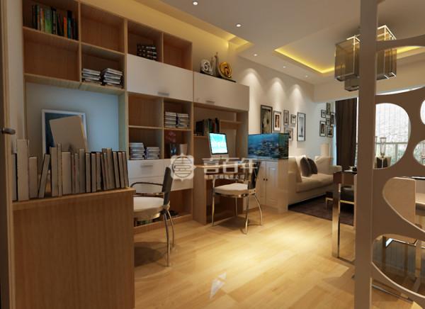进门的客厅还算宽敞,所以将原有的餐厅位置作为了办公区域,中间用一个1.1米高的玄关柜将办公区域与客厅区域分隔开,餐桌靠后面墙靠,空间充分利用也不会显得挤。
