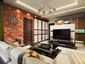60平咖啡色个性空间 老房改造