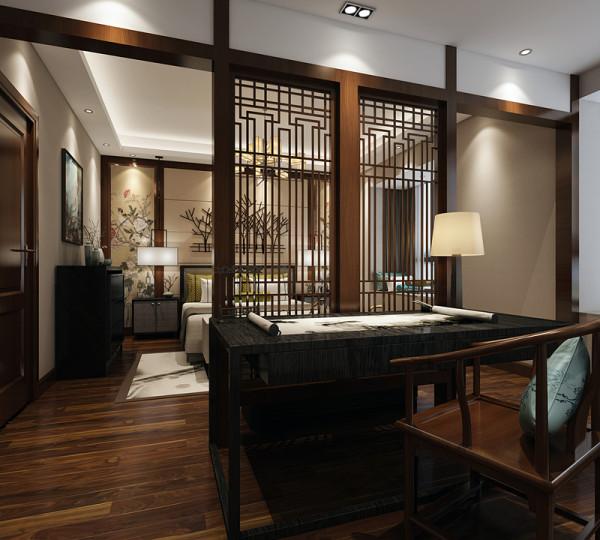 不宽敞的卧室空间还设置了一个小书桌,木质书桌上摆放着的画卷赋予卧室强烈的文学气息。在需要隔绝视线的地方,使用中式的屏风或窗棂。通过这种新的分隔方式,单元式住宅就能展现出中式家居的层次之美。