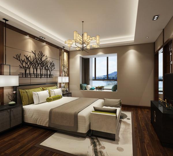 卧室的装修在装饰上显得非常简洁,少了很多的奢华装饰,精巧的灯具和雅致的床头背景墙,不仅流畅的表现出了中式卧室的精髓,更是不乏现代时尚感。搭配着简洁素雅的床品,更加展现出了卧室的低调优雅。