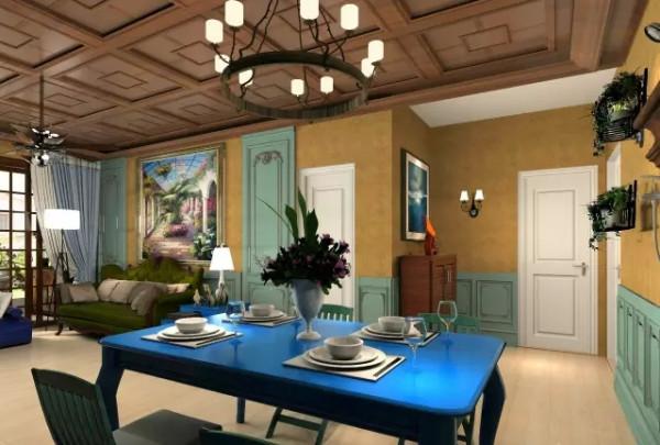 混搭装修的底色大多采用木地板、深色为主,家具则是深灰绿或深色都可以,但是要成系列,风格统一。实不必采用过多的色彩,木质的餐桌椅,给人一种淳朴之感。