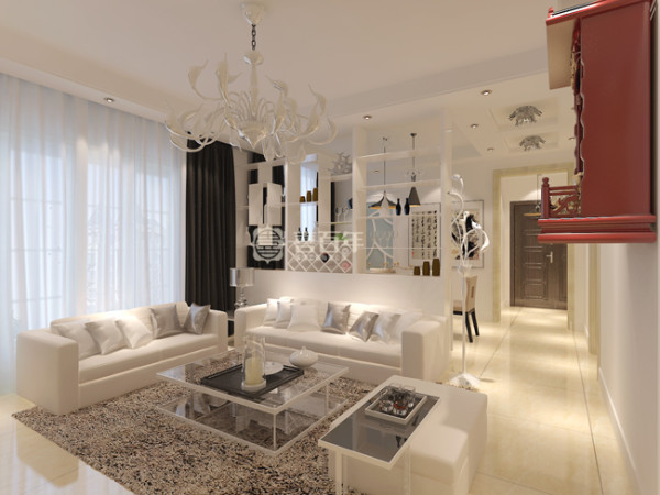 在家具的配饰上全部为白色为主。