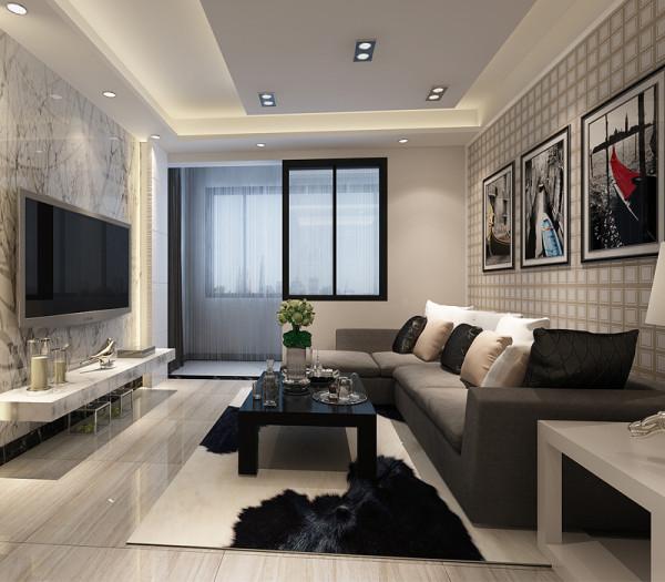 客厅视觉效果更宽敞,客厅阳台处设计储物柜,增加储物空间。