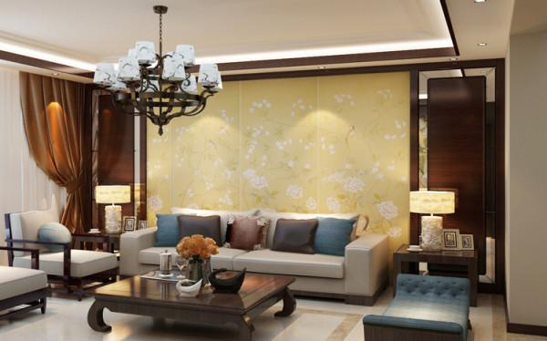 许多现代元素的加入,呈现着时尚的特征。黄色的古典花纹壁纸,加以红木装饰线彰显了主人的气度与细腻。