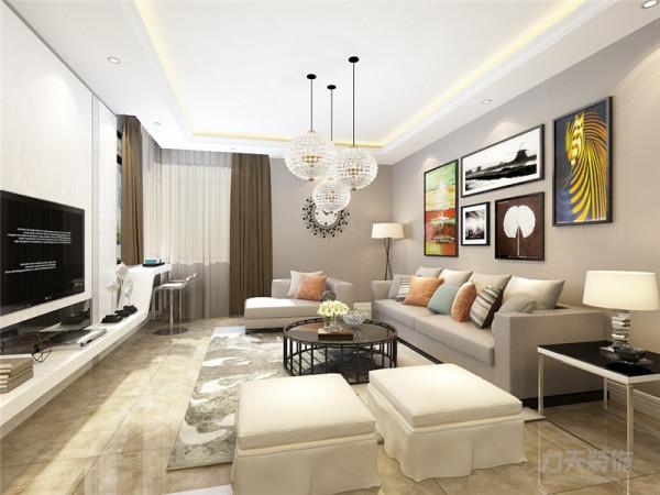 客餐厅瓷砖通铺,配以墙面浅色乳胶漆,加上以白色为主色调的家具装饰,使整个空间简洁明了。客厅背景墙采用白色石材,内嵌电视,简单大方。