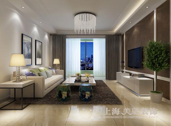 洛阳开元壹号130平三室两厅现代装修效果图——客厅全景效果图