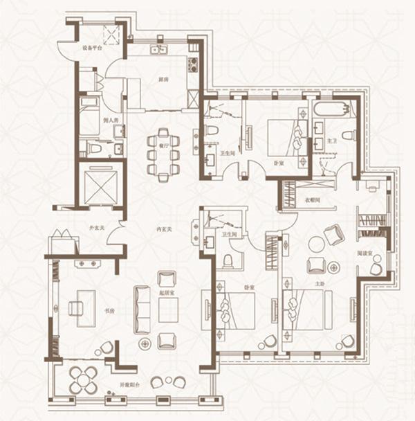 简约 小资 美式装修 户型图图片来自河南美巢装饰在开封家属院170平方五室美式乡村的分享