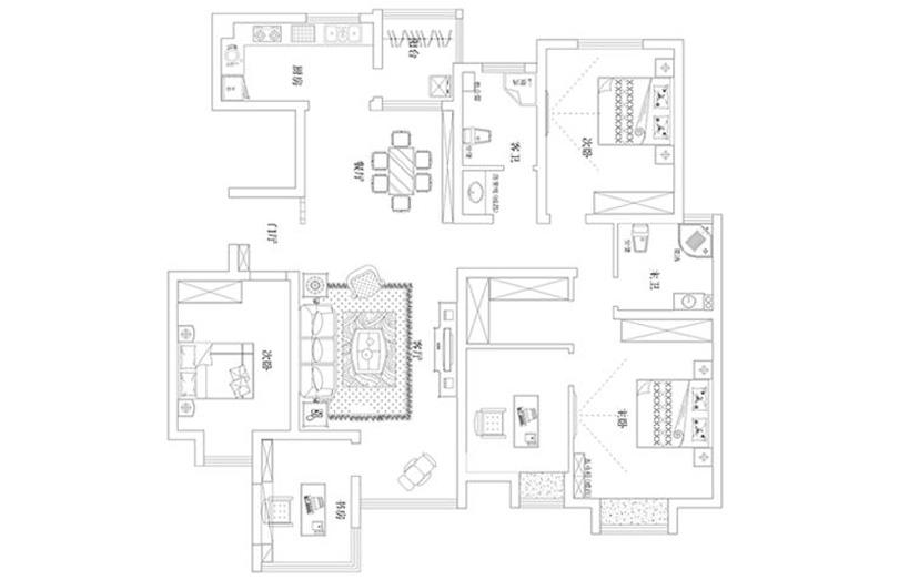 简约 小资 四居室装修 户型图图片来自河南美巢装饰在农大家属院170平方简约风效果图的分享