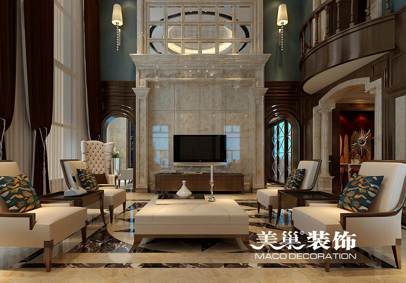 别墅 客厅图片来自河南美巢装饰在思念果岭520平别墅新古典样板间的分享