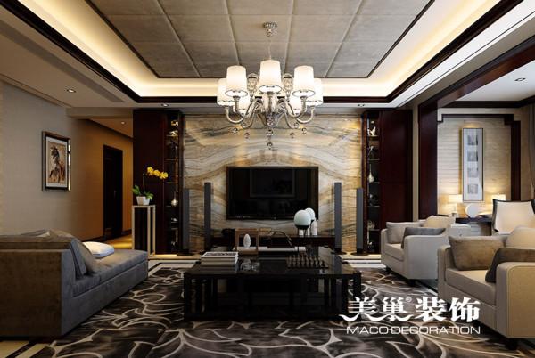 双河湾装修案例效果图新中式四室两厅207平居室布局赏析
