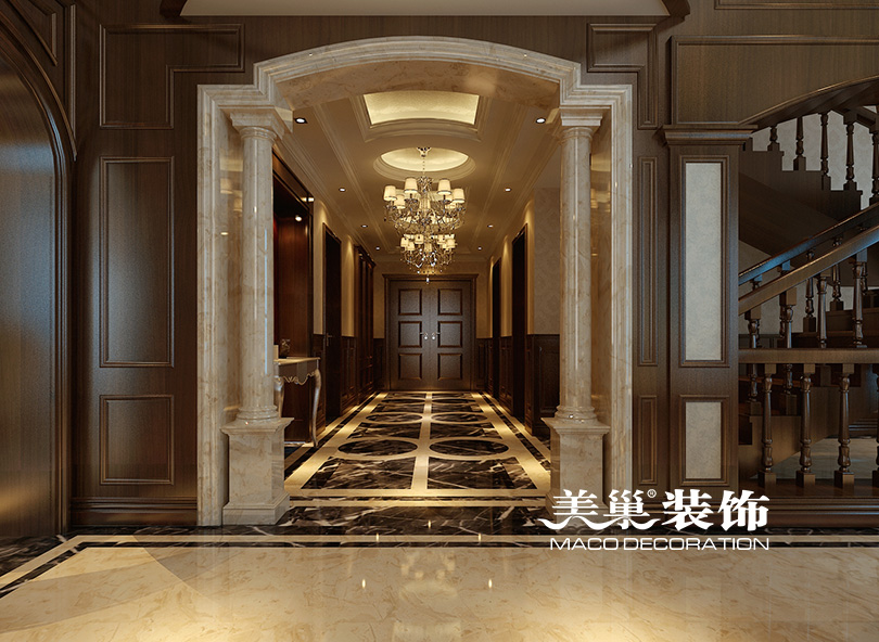 别墅 玄关图片来自河南美巢装饰在思念果岭520平别墅新古典样板间的分享