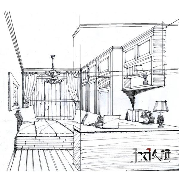 书房设计手绘稿