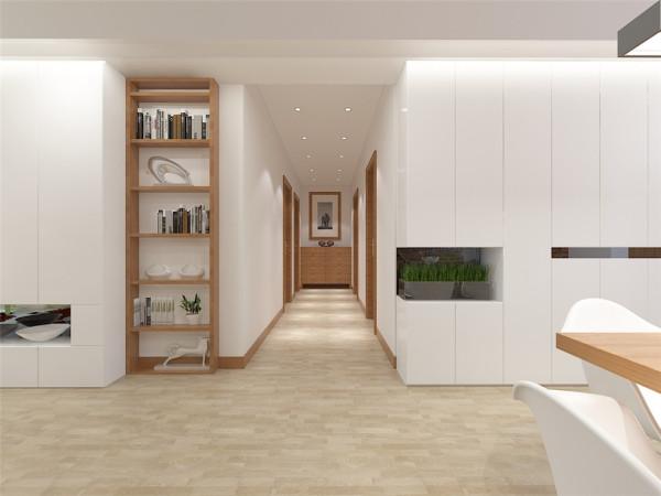 过廊很简单只使用平顶加上一个柜子和一幅画