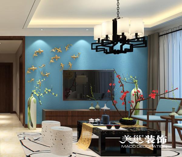 亚太花园120平三室两厅装修新中式效果图