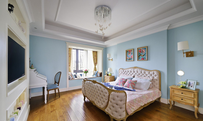 美式乡村 混搭 二居 双卫 时尚 三口之家 卧室图片来自北京今朝装饰老房新房装修在克拉恋人邂逅米色水晶之恋的分享