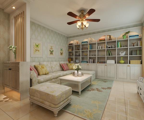 客厅沙发墙整体装修设计效果展示。