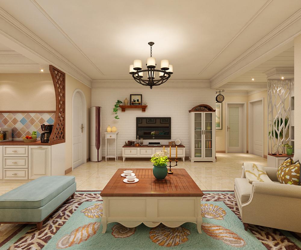 三居 田园 翰林观天下 客厅图片来自乐豪斯装饰张洪博在翰林117平米美式风格装修案例的分享