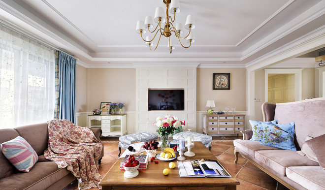 美式乡村 混搭 二居 双卫 时尚 三口之家 客厅图片来自北京今朝装饰老房新房装修在克拉恋人邂逅米色水晶之恋的分享