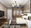 卧室背景墙参用了镜面来拉伸空间使空间视觉上更加开阔,暖色的床和深色的窗帘形成完美的对比使业主能够放松身心更好的休息放松,衣柜的颜色沉稳时尚,质感十足