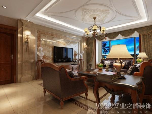 这是一套总体面积203平米的三室两厅结构,为美式风格,背景栗色护墙板与暖色壁纸搭配,石材背景墙画龙点睛。格局舒展,造型简洁大气。