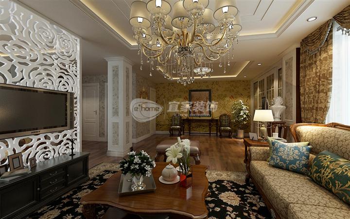 客厅图片来自沈阳宜家装饰在中铁万科香湖盛景简欧风格的分享