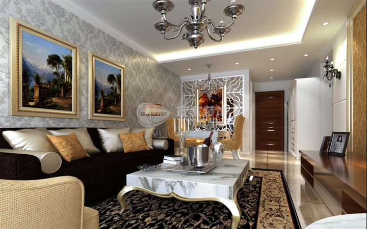客厅图片来自沈阳宜家装饰在中海雍和简欧风格实景图的分享