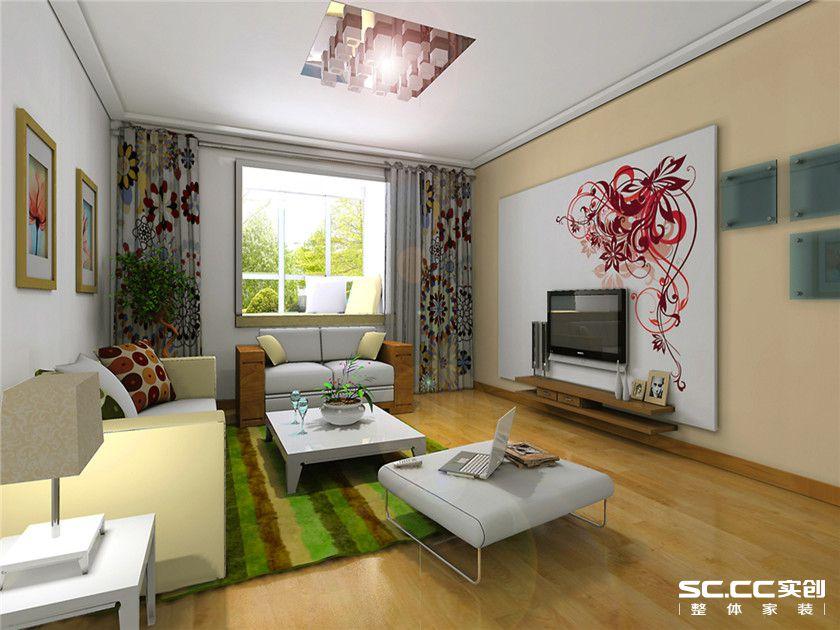 后现代风格 两居 晨光家园 80平米家居 最美效果图 客厅图片来自武汉实创装饰张娟在后现代潮流风的分享