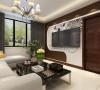 客厅设计讲究的是简约、稳重,深色的电视背景墙、深色的的茶几,沙发,餐桌使得整个空间即稳重又清新,布艺的沙发为空间增添温暖简洁干净的气息,沙发靠窗户,光照也使空间看起来更干净,清新大方,富有韵律。
