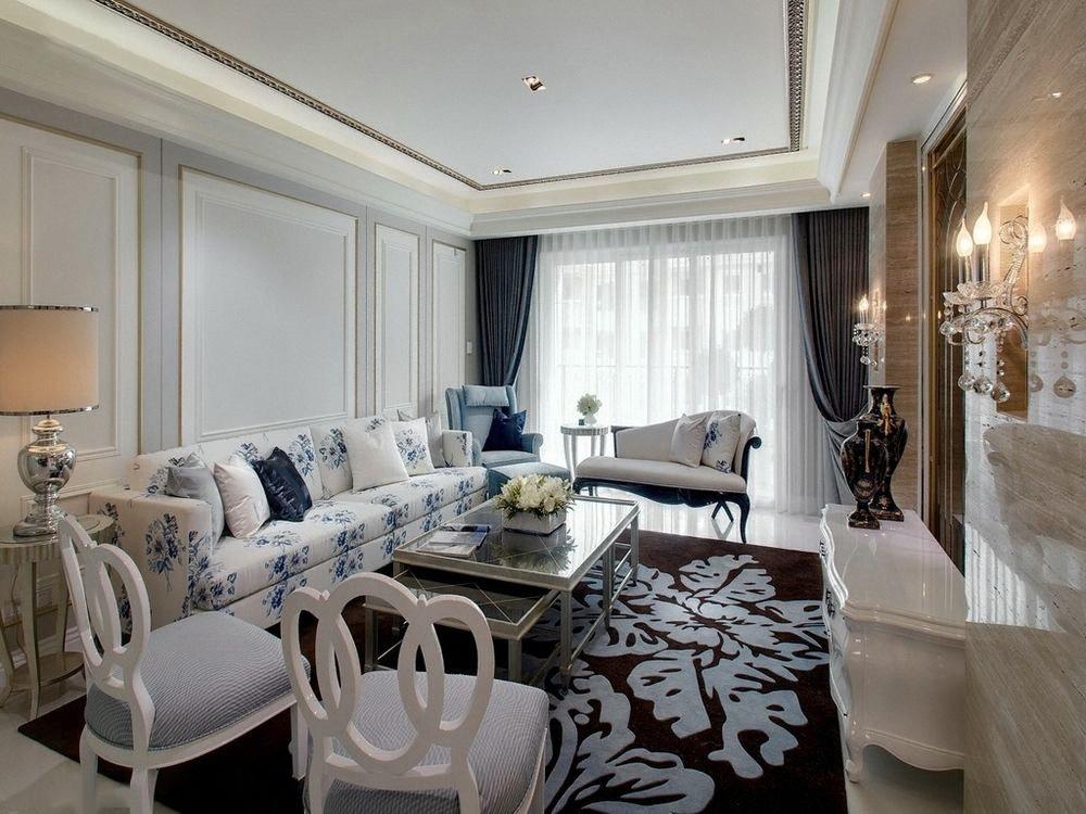简约 新古典 二居 小资 客厅图片来自一道伍禾装饰设计师杨洋在优雅青花之新古典风格-华贸城的分享