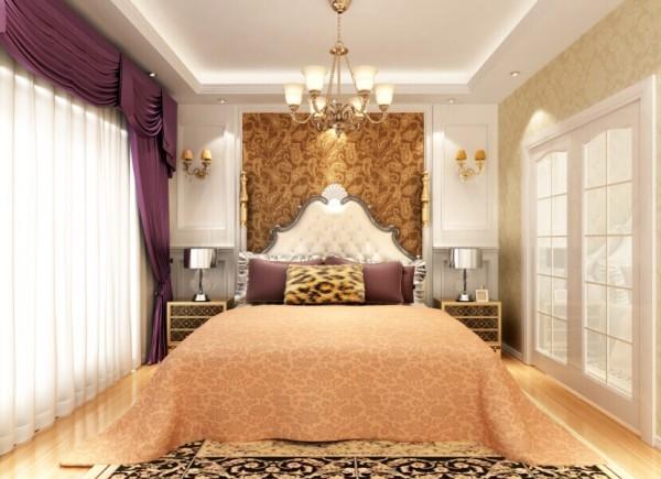 设计理念:整体淡黄色的色调,配上紫色的窗帘,神秘而有内涵