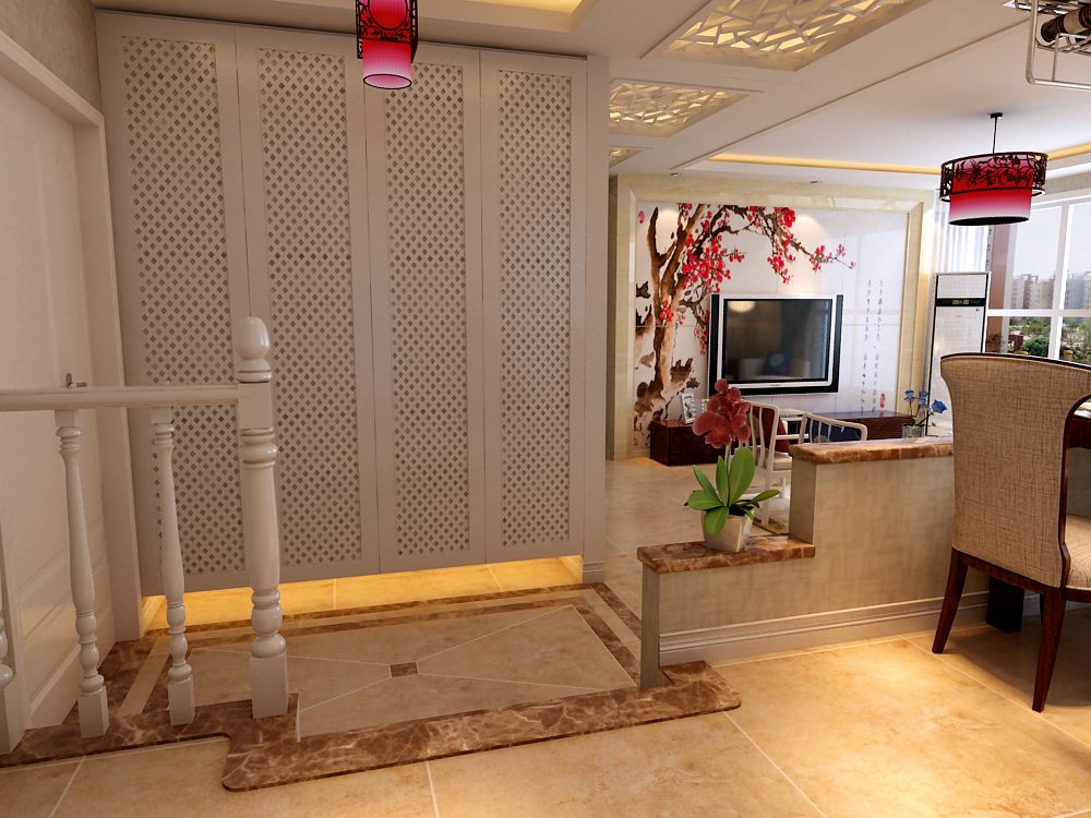 三居 中式 玄关图片来自乐豪斯装饰张洪博在石家庄华基君程中式风格的分享
