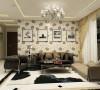 整个客餐厅区域为暖色系,通贴壁纸,客厅使用回型吊顶,加上发光灯池。客厅影视背景墙以墙纸做底,用简单的白色大理石做装饰。沙发背景墙使用挂画做装饰。