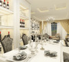 餐厅两侧背景墙同样使用简单的酒柜做装饰。