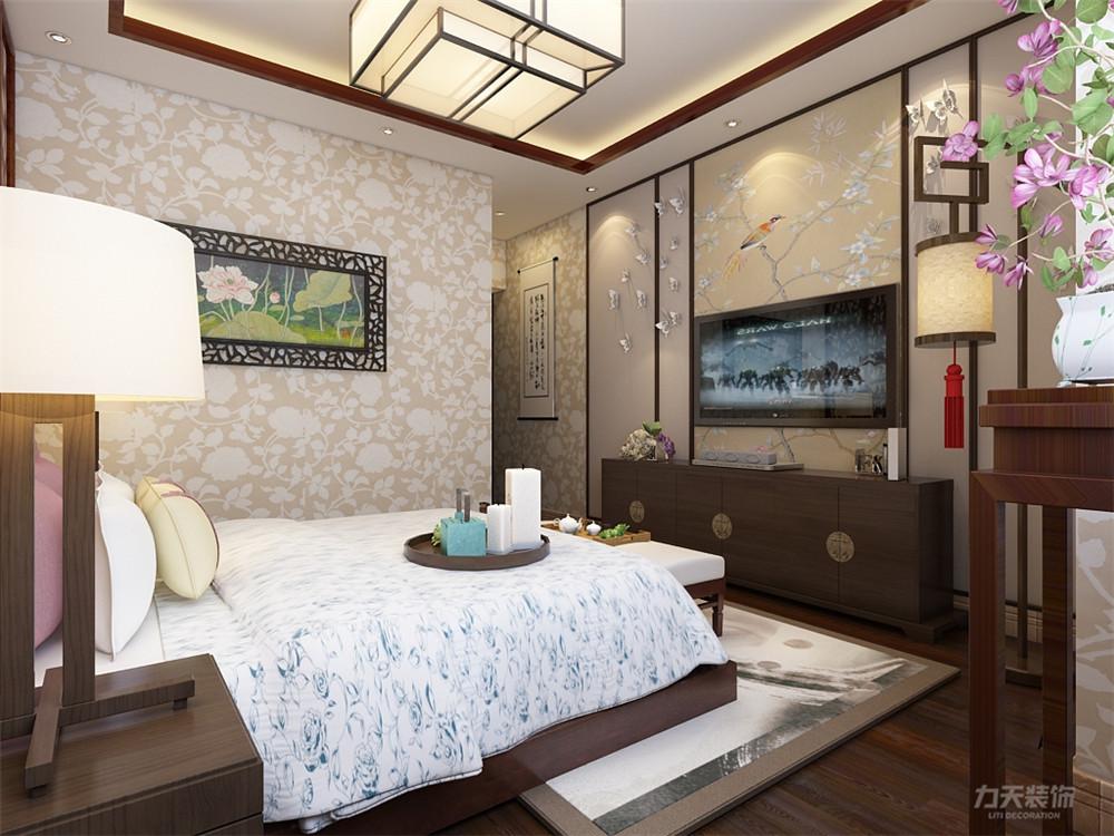 三居 中式 天津华侨城 卧室图片来自阳光放扉er在力天装饰-天津华侨城-126㎡-中式的分享