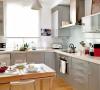 金属感十足的厨房处处彰显着浓郁的现代气息,烹饪区前安装了一块玻璃,方便清洁。椅子采用透明设计,厨房看起来更宽敞。