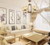 客厅设计讲究的是简约、稳重,电视柜、茶几,色系相差不多的的沙发,餐桌使得整个空间即稳重又清新,布艺的沙发为空间增添温暖简洁干净的气息,沙发的色彩与背景墙挂画整个空间形成呼应。