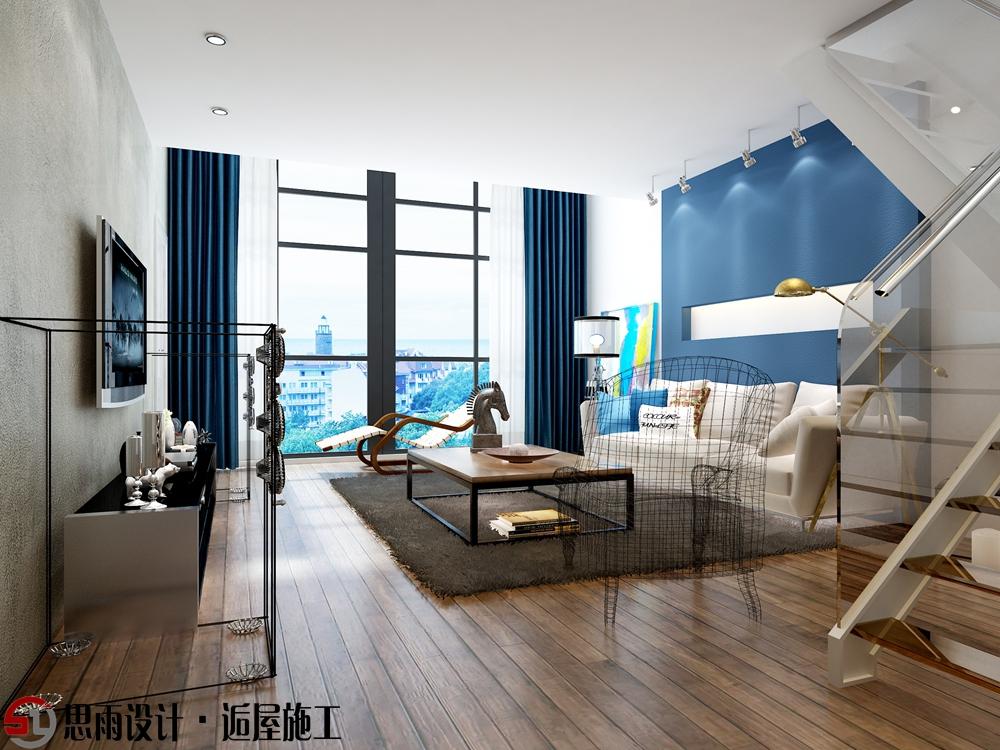 客厅图片来自思雨易居设计-包国俊在《蓝调摩登》130平后现代风格的分享
