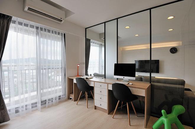 简约 二居 80后 书房图片来自rongzhimei在86平方现代2居的分享
