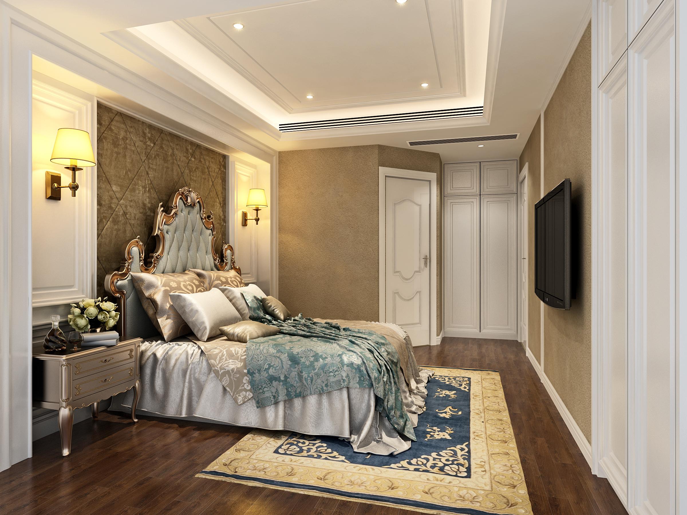 欧式 小资 别墅 混搭 田园 简约 三居 卧室图片来自唐锋设计在世茂滨江新城的分享