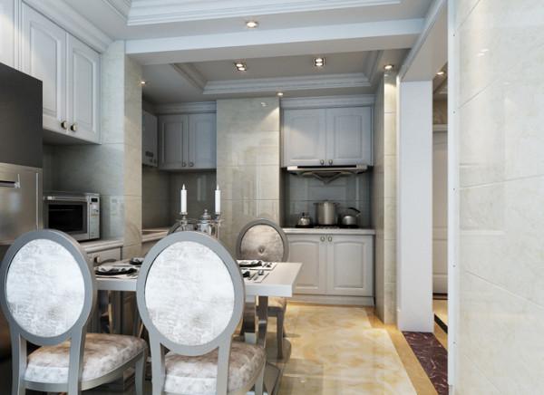 生活家装饰--宏仁家园102平米D户型简欧风格餐厅装修效果图 亮点:厨房的顶面没有用一贯设计师设计的铝扣板,而是采用了防水石膏板做的一些简单的造型,与白色的造型橱柜相搭配,体现出居住人追求品质、典雅生活。