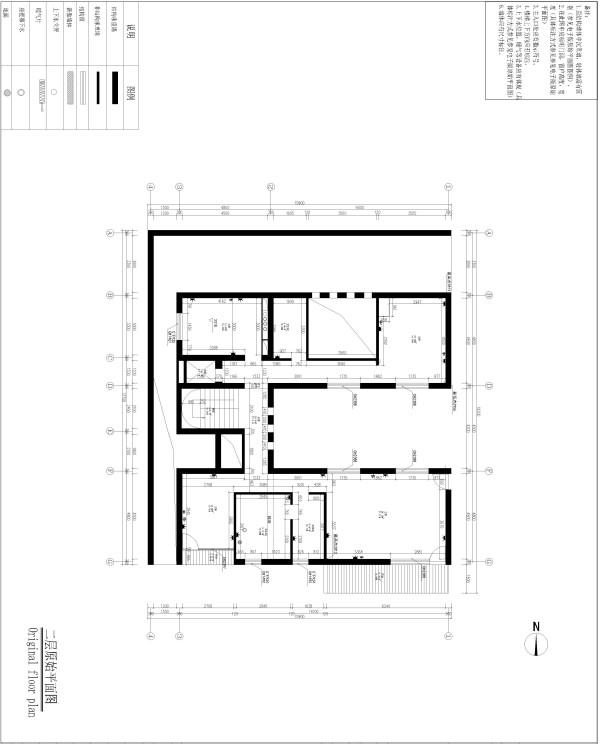 生活家装饰--渡上依水500平米独栋别墅美式乡村二层原始平面图