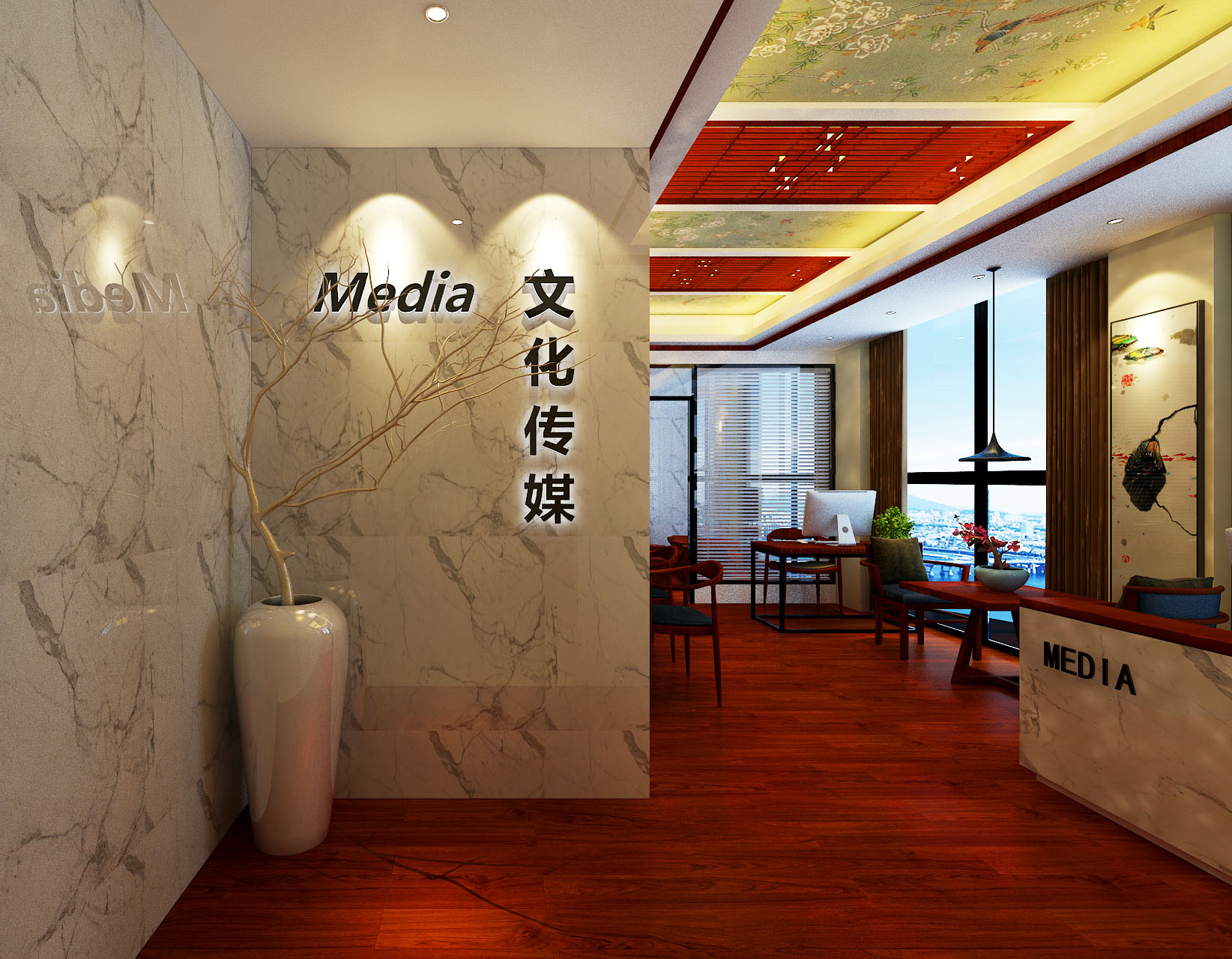 君子兰装饰 万达中心 郑州万达装 万达装修设 办公装修 办公设计 玄关图片来自流落四方在万达中心中式古典办公的分享