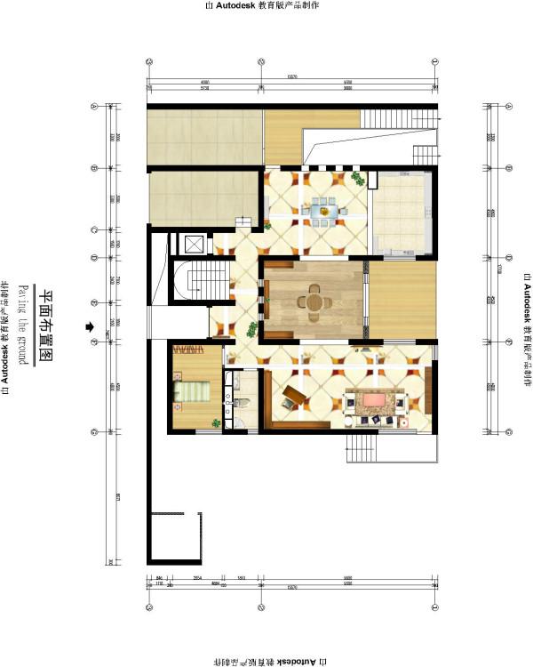 生活家装饰--渡上依水500平米独栋别墅美式乡村一层平面布置图