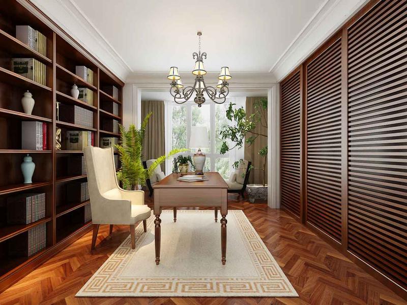 欧式 跃层 书房图片来自今朝装饰张智慧在轻奢简欧美丽园四口之家的分享